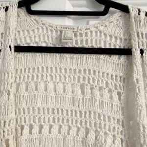 XS Forever 21 Crochet Lace Vest Cardigan